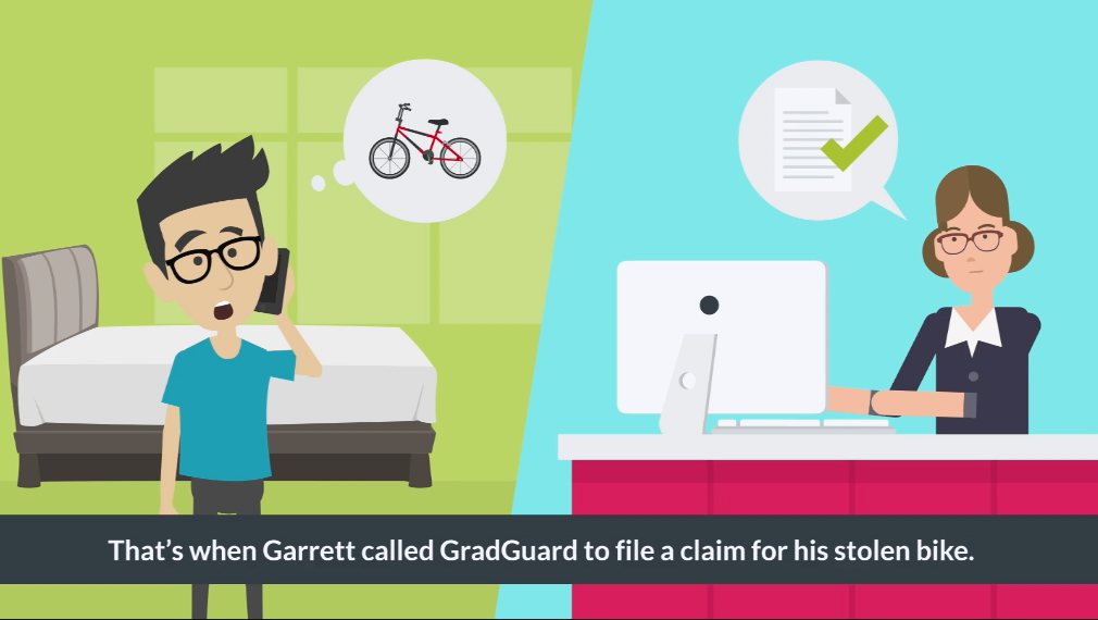 Garrett called GradGuard to file a claim for his stolen bike.